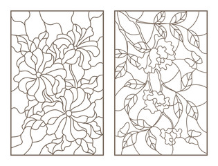 Set contour illustrations of flowers, the rose with the butterflies and petunias, dark outline on a white background