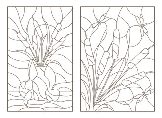 Set contour illustrations of stained glass from reeds, still life with fruit and a bouquet with dragonflies