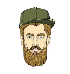 Nice-looking man with a beard and mustache wearing green cap on white background. Lumberjack stares at you. Head graphic image. Isolated vector illustration.
