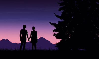 Realistic illustration of a silhouette of a loved man and woman on a romantic stroll through a mountain landscape with trees under a blue sky with dawn