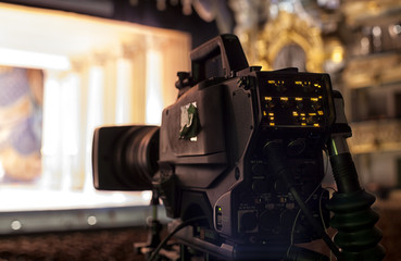 Television broadcast from the theater. Professional digital video camera.