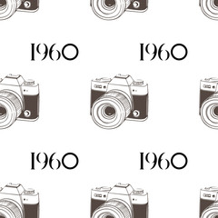 Retro camera 1960 seamless background. Vector EPS 10