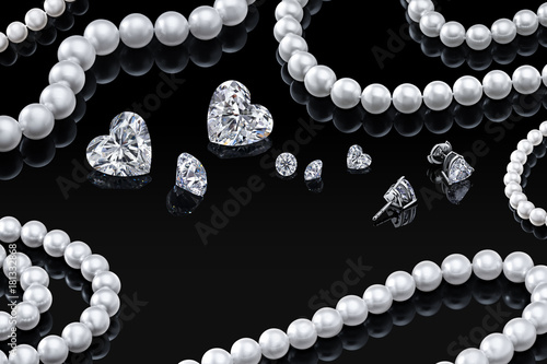 luxury set white pearl necklace and jewelry with diamonds in