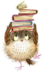 cute owl. watercolor fschool books illustration