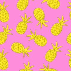 seamless background yellow pineapple on pink background. pattern for wrapping paper, fabric, background