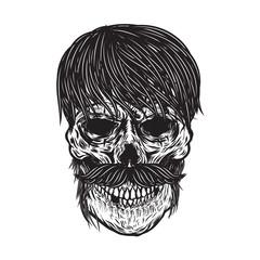 Zombie skull illustration isolated on white background. Design element for poster, emblem, t shirt. Vector illustration