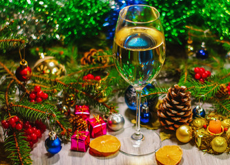 New Year's and Christmas decorations and drinks.
