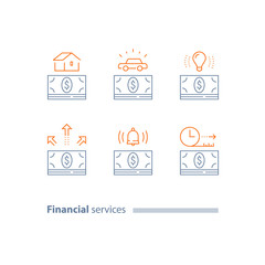 Installment concept, mortgage loan, car credit,money bundle, down payment, time period, outline icons
