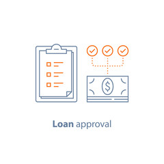 Payment installment, loan approval, checklist clipboard, insurance policy, financial service, line icon