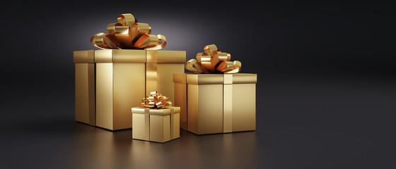 3 Goldene Geschenkpakete und Päckchen