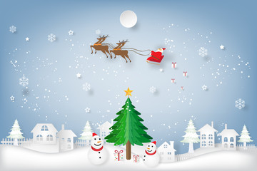 Santa Claus on Sleigh, Reindeer, tree and Snowman on snowflakes in the winter background with merry christmas text as holiday, x'mas day and paper art and craft style concept. vector illustration.