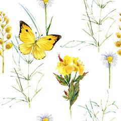 summer flowers seamless pattern