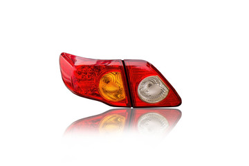 Car tail lights isolated from white background cipping path