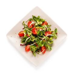 Vegetable salad on white background