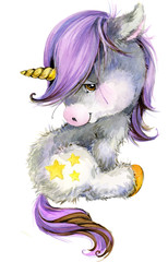 cute unicorn watercolor illustration