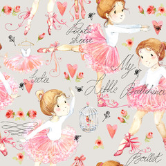 cute little ballerina seamless pattern