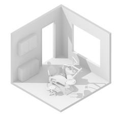 3d isometric rendering illustration of white dentist's chair