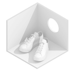 3d isometric rendering illustration of white sneakers in empty room