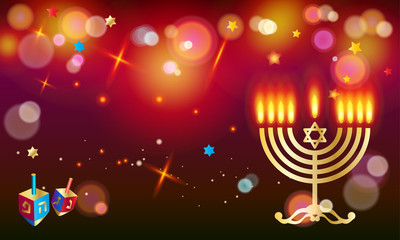 Hanukkah Jewish Holiday traditional symbols menorah, donuts - traditional cookies, dreidel spinning top, candles with fire flame, candelabrum, bokeh lights, glow effect. Festival of lights Israel.