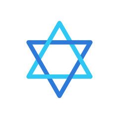 Star of David Israel symbol isolated on white background, David's star Jewish sign flag logo concept, star sticker icon vector illustration Israeli star label blue color. Jewish Holiday