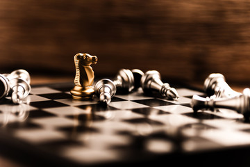 winner ans looser in chess board game, concept of business ideas and competition and stratagy plan success meaning