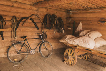 Ancient Russian log hut interior