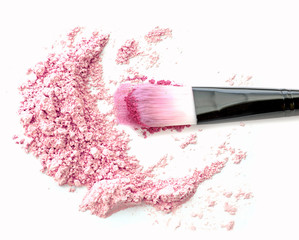 Make up blush on pink powder