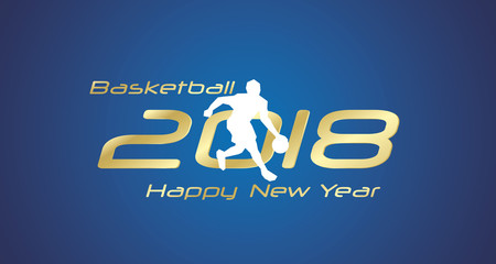 Basketball drill 2018 Happy New Year gold logo icon blue background
