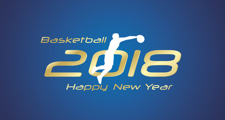 Basketball jump 2018 Happy New Year gold logo icon blue background