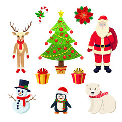 Cartoon Christmas Elements Isolated On White