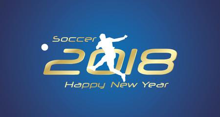 Soccer goal shot 2018 Happy New Year gold logo icon blue background
