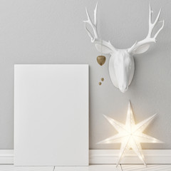 Mock up poster with Christmas decoration, Light star lamp, deer horns, 3d render, 3d illustration