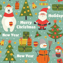 seamless pattern with Christmas characters - vector illustration, eps