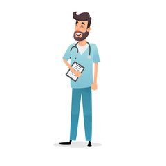 Friendly cartoon physician with stethoscope and diagnosis. Happy doctor cardiologist, pediatrician or pharmacist. Professional medic in blue uniform. Medical concept for the design of postcards