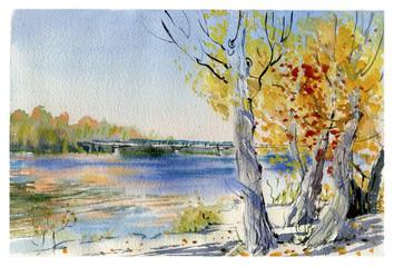 autumn landscape, watercolor