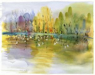 autumn, lake, watercolor landscape