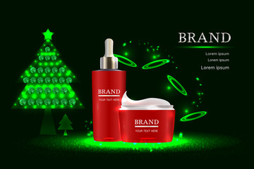 Red cosmetic containers with advertising background ready to use, holiday concept skin care ad design. Illustration vector.