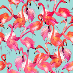 flamingo watercolor pattern