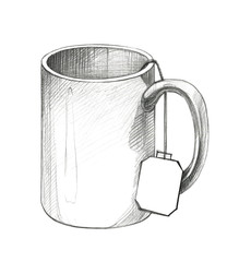 Drawing a mug with a label from a tea bag. Pencil drawing.