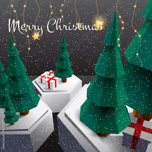 Merry christmas happy new year 3d design. christmas tree, design ...