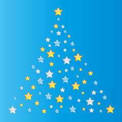 Weihnachten - Goldener und siberner Tannebaum abstrakt auf blauem Hintergrund