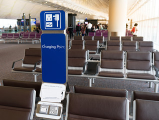 Public free charging station in international terminal airport for passenger or traveler.