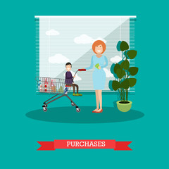 Purchases concept vector illustration in flat style