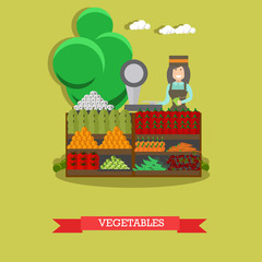 Vegetables concept vector illustration in flat style