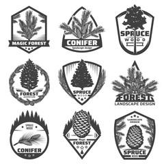 Vintage Monochrome Conifers Labels Set