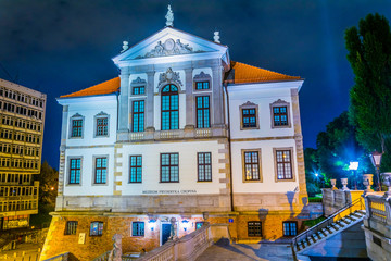 Frederic Chopin Museum at the Ostrogski Palace building during night in Warsaw, Poland