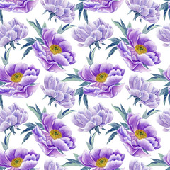 lilac peonies watercolor seamless pattern
