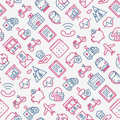 Insurance seamless pattern with thin line icons: health, life, car, house, savings. Modern vector illustration for banner, template of web page, print media.