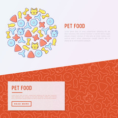 Pet food concept with thin line icons of dry food in different shapes and cute dog and cat. Modern vector illustration.