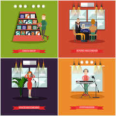 Vector set of radio posters, banners in flat style